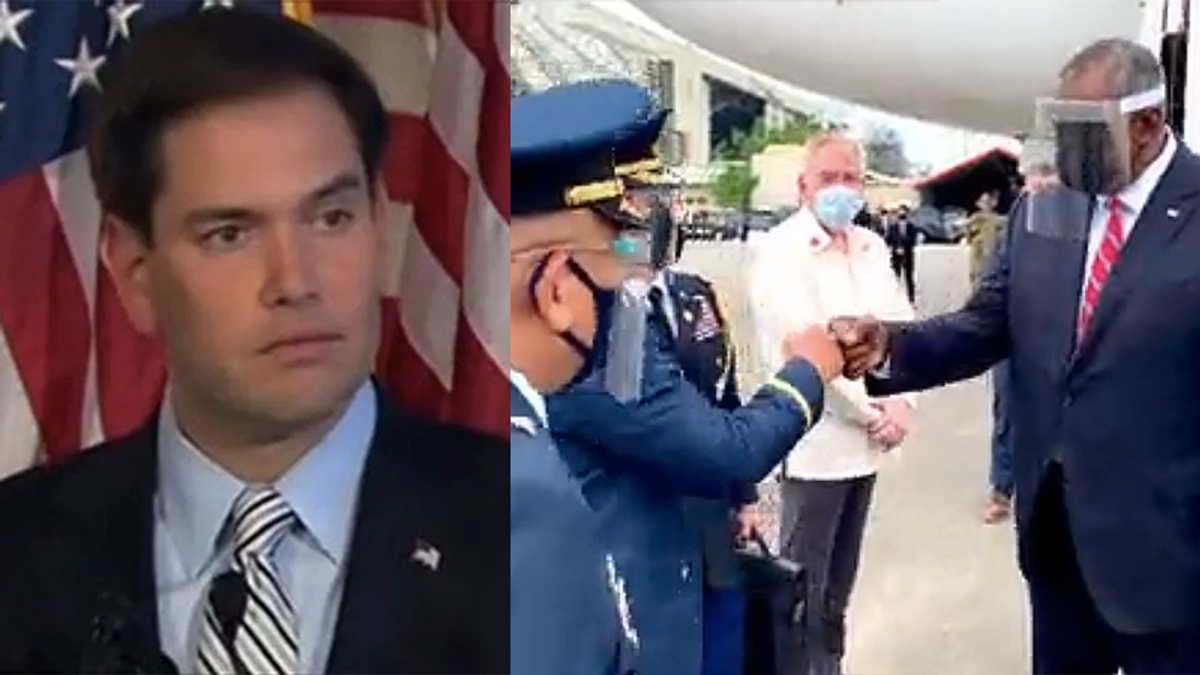 'Little Marco' Rubio humiliated for attacking Pentagon chief for complying with face shield mandate in the Philippines