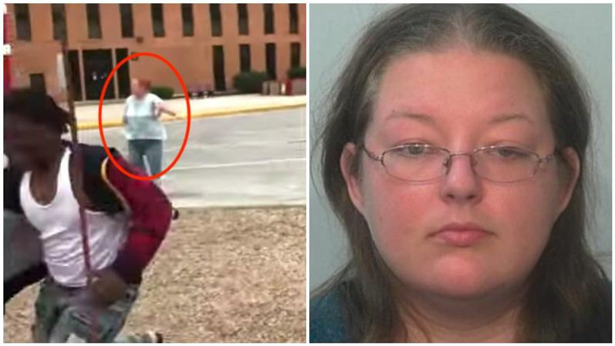 Slur-screaming 'Karen' chases Black child around playground with a knife in shocking video