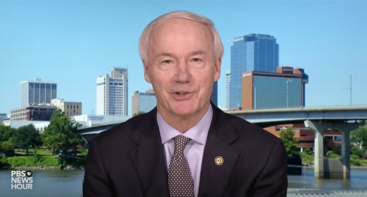 'Shortsighted idiot': Arkansas Gov. Asa Hutchinson ripped to shreds for expressing regret for banning mask mandates as COVID cases surge