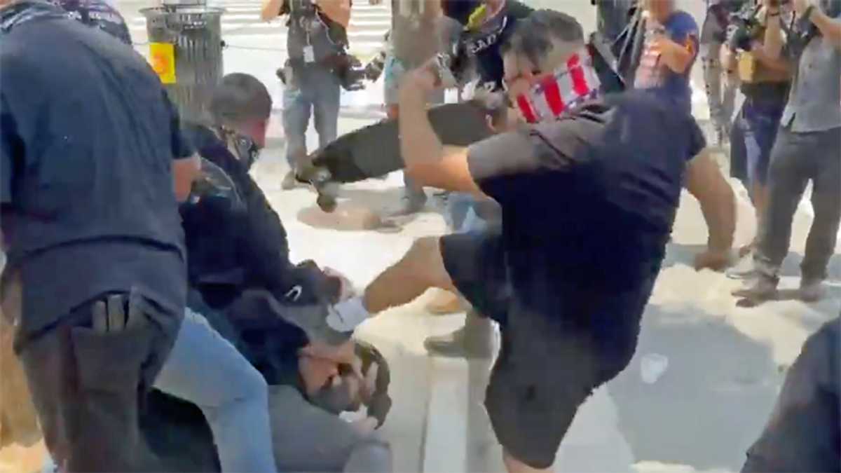 Harrowing videos capture Proud Boys' violence at anti-vaxx rally in downtown Los Angeles: reports