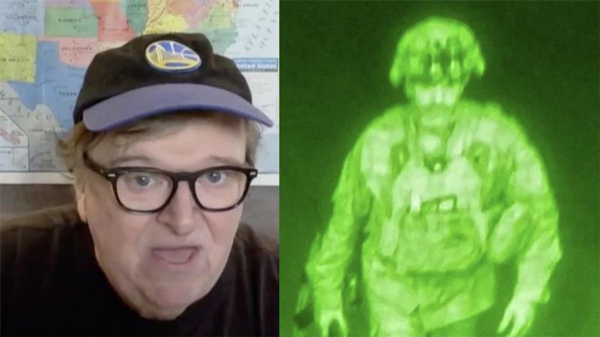 Michael Moore points out the significance of the last US soldier leaving Afghanistan photo