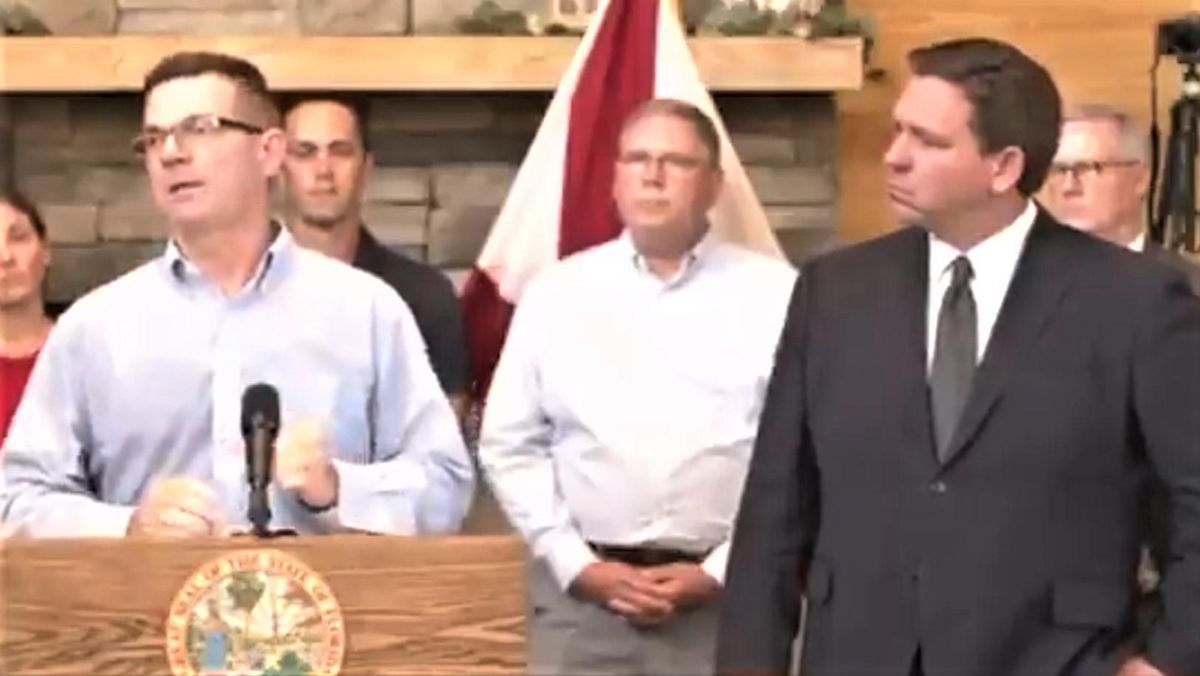 WATCH: DeSantis stands passively by as man spouts misinformation about COVID vaccine at anti-mandate event