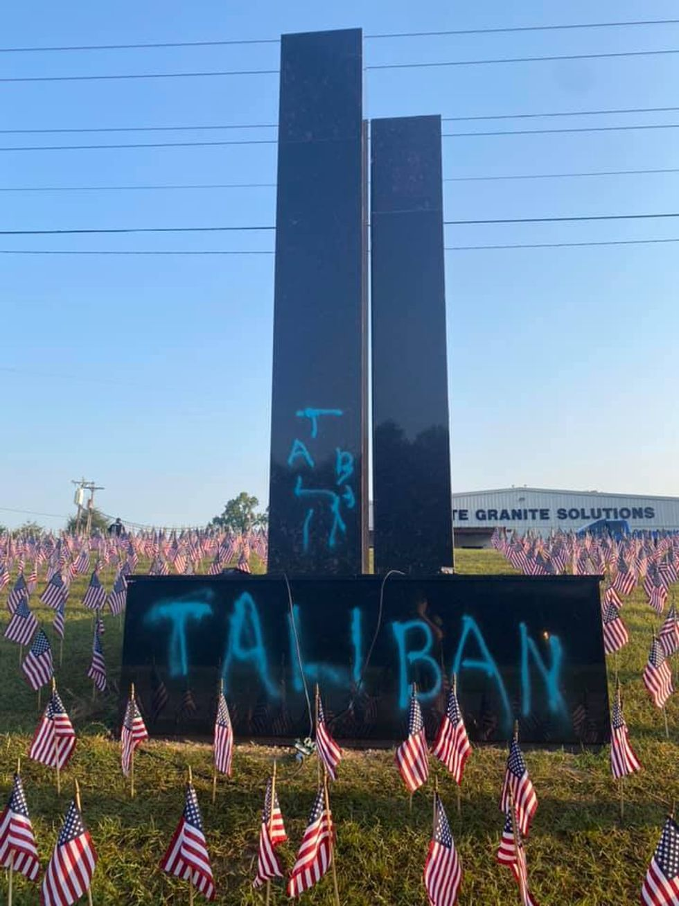 Vandal who spray-painted 'Taliban' on 9/11 memorial was caught on video, South Carolina police say