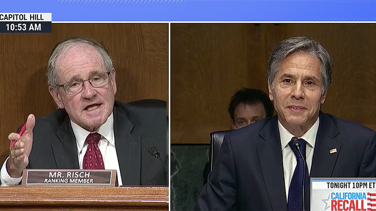 Blinken struggles to keep a straight face as GOP senator angrily demands to know who has 'a button' to shut off Biden