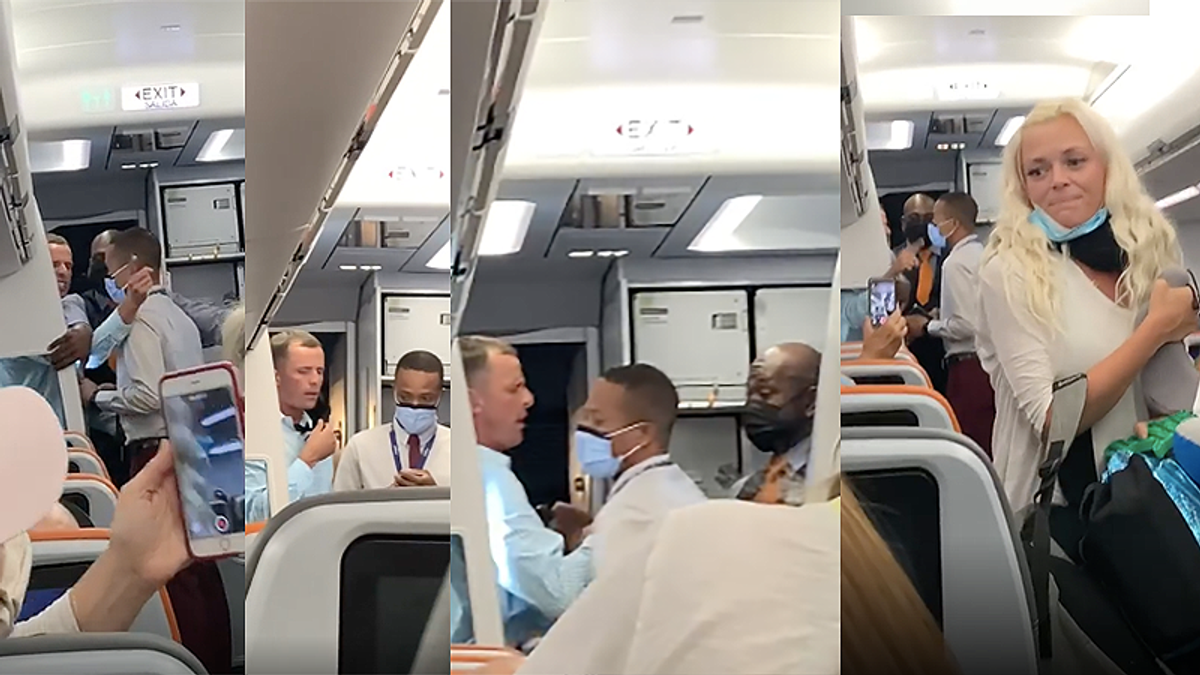 'Drunk' irate man shoves JetBlue flight attendantafter getting booted for not wearing his mask properly
