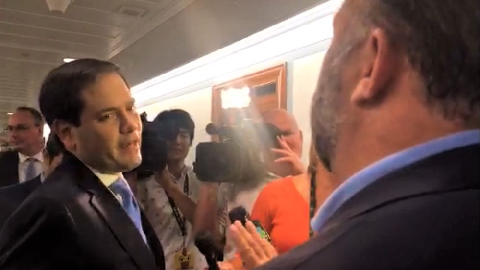 'Don't touch me again': Marco Rubio threatens to  'take care of' Alex Jones in testy confrontation at Capitol