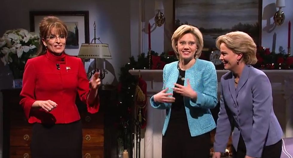 WATCH: Tina Fey and Amy Poehler make triumphant return to SNL as Palin and Hillary -- and it's hilarious