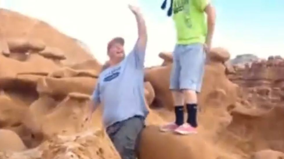Boy Scout leaders get death threats after video of them toppling massive 170 million-year-old rock goes viral