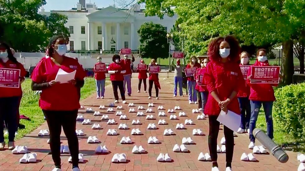 Trump's failure on COVID-19 testing and tracking data has led to deaths of 1,700 healthcare workers, nurses union report shows