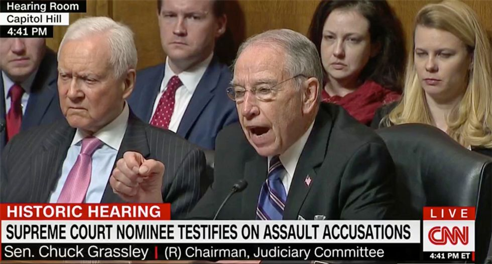 'Stop the clock!' Democrat calls Kavanaugh's bluff on investigation and GOP's Grassley melts down