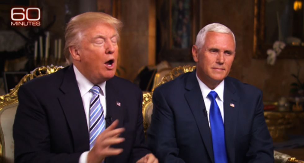 WATCH: Donald Trump jumps in to bail out VP candidate Pence during 60 Minutes grilling