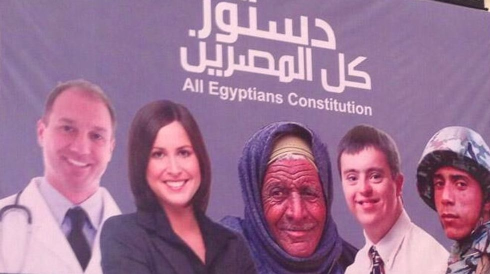 Egypt's constitution unveiled with 'all Egyptians' poster depicting westerners