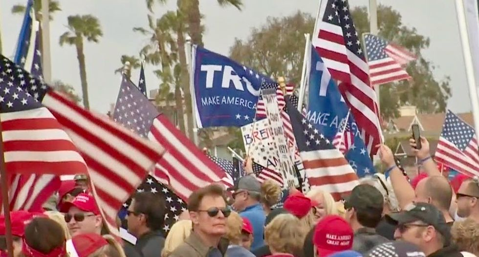 'America First' protesters face off with opponents at California beach rally