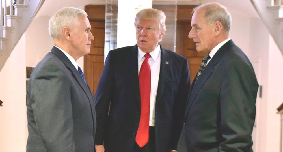 Why did Trump enlist Mike Pence and other cabinet members to convince a reporter that he wasn't firing John Kelly?