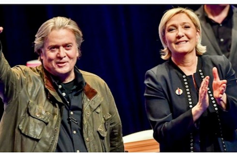 Backtracking Marine Le Pen meets Steve Bannon and states she is open to closer ties