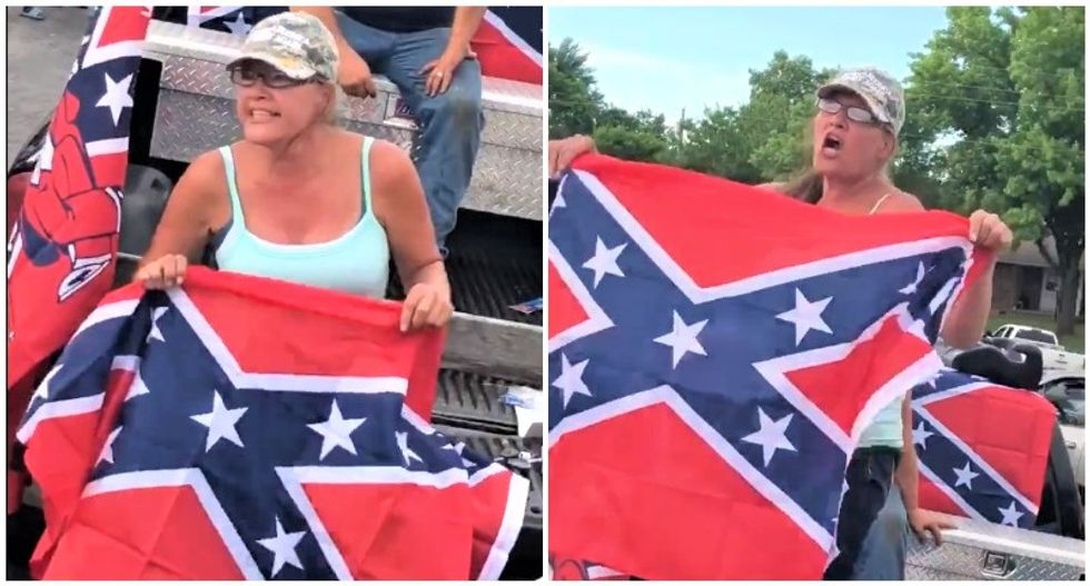 'I'll teach my grandkids to hate you!' Confederate flag-waving Trump supporter freaks out at BLM protesters