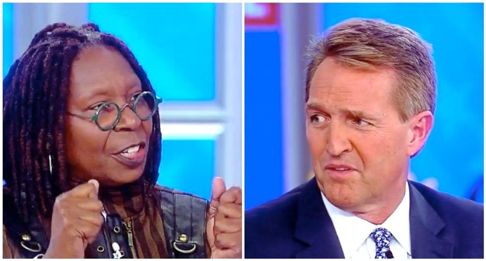 The View's Whoopi Goldberg nails Jeff Flake for doubting Brett Kavanaugh's innocence -- but voting for him anyway
