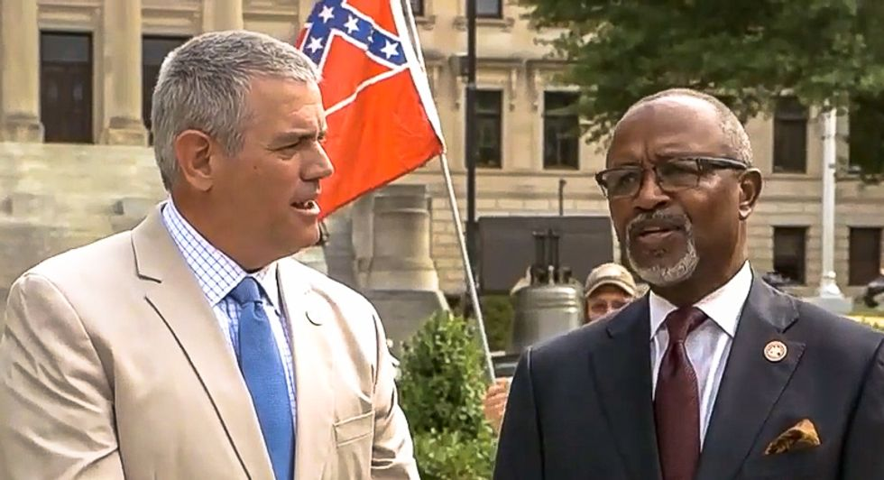 Mississippi Republican tells Black lawmaker he 'needs to learn' as Confederate emblem flies behind them