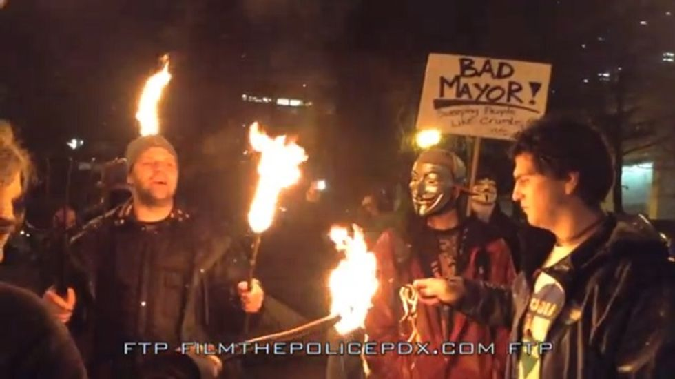 Portland protesters bring pitchforks and torches to City Hall over anti-homeless proposal