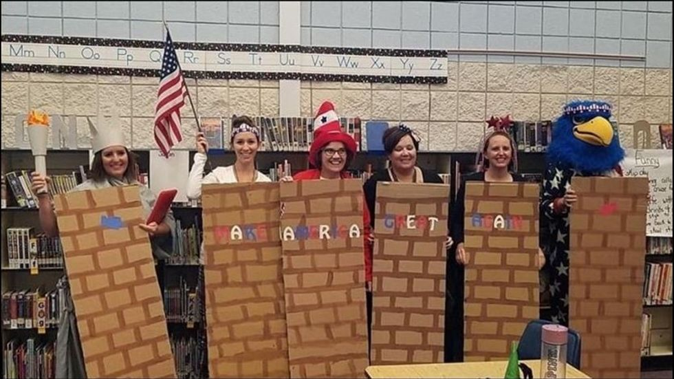 Trump-loving Idaho teachers mocked Mexicans and dressed up as a border wall for Halloween party