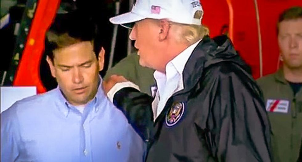 Watch: Marco Rubio cringes when Donald Trump touches him and says Gov. Rick Scott should run for Senate