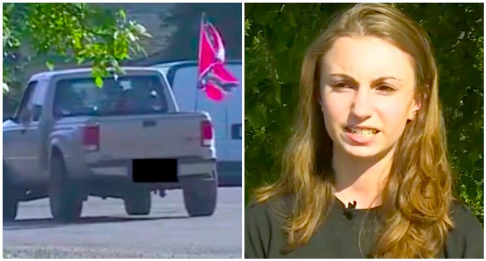 Confederate-loving truckers crash TV interview with girl claiming harassment over racist flag complaint