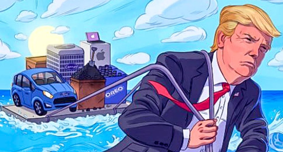 Trump tweets bizarre narcissistic painting of him saving America by pulling US companies across an ocean