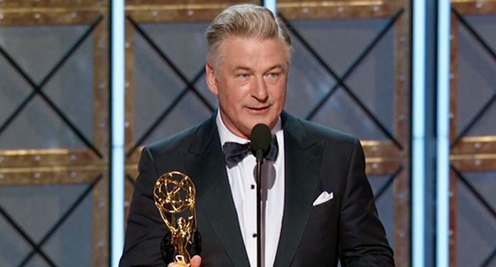 'Mr. President, here is your Emmy': Baldwin wins as Trump