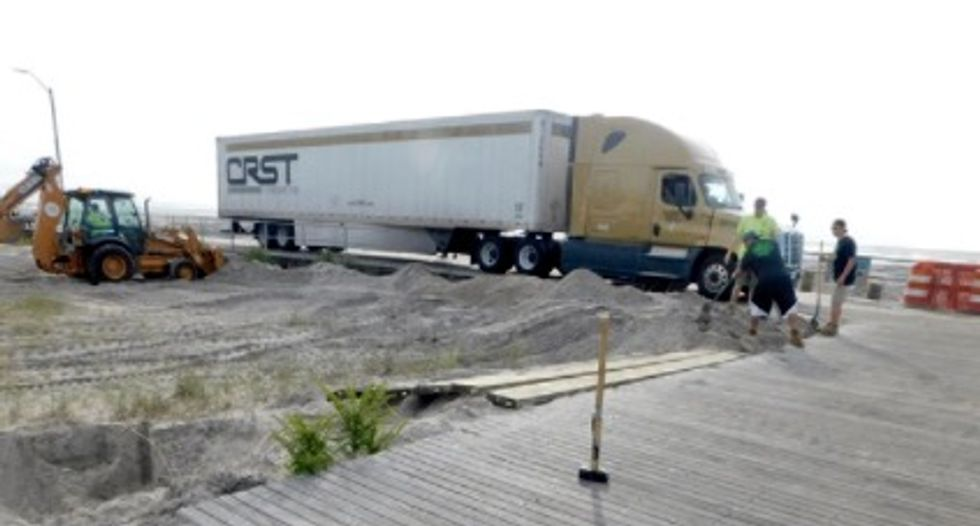 Truck follows GPS directions onto boardwalk, leaving trail of damage behind