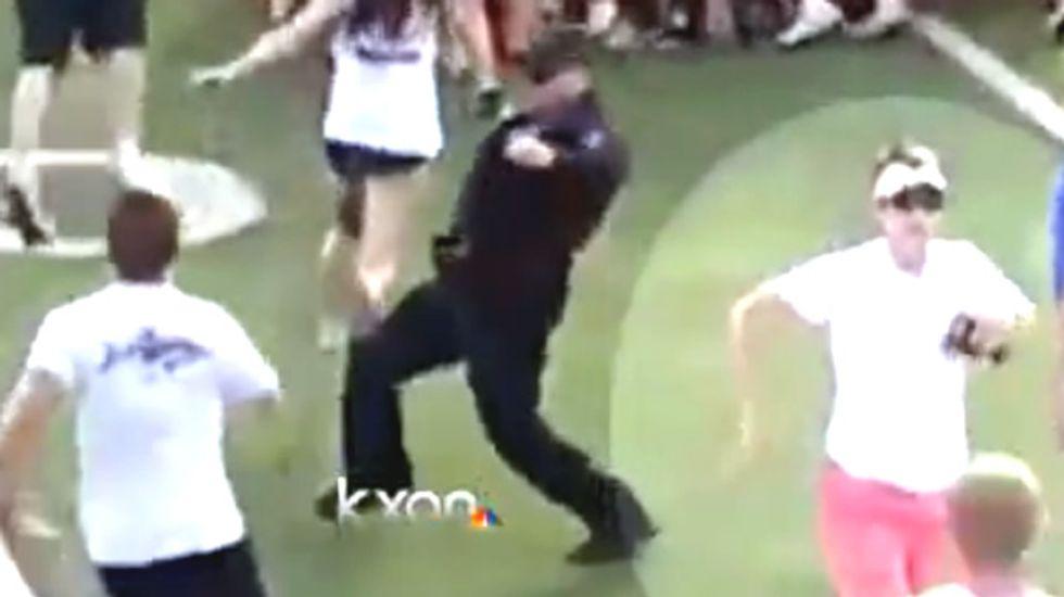 WATCH: Uniformed officer kicks, trips high school students celebrating TX state soccer title