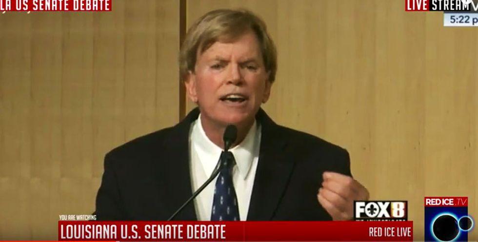 Ex-Klan head David Duke goes bonkers at raucous senate debate: 'Hillary should get the electric chair!'