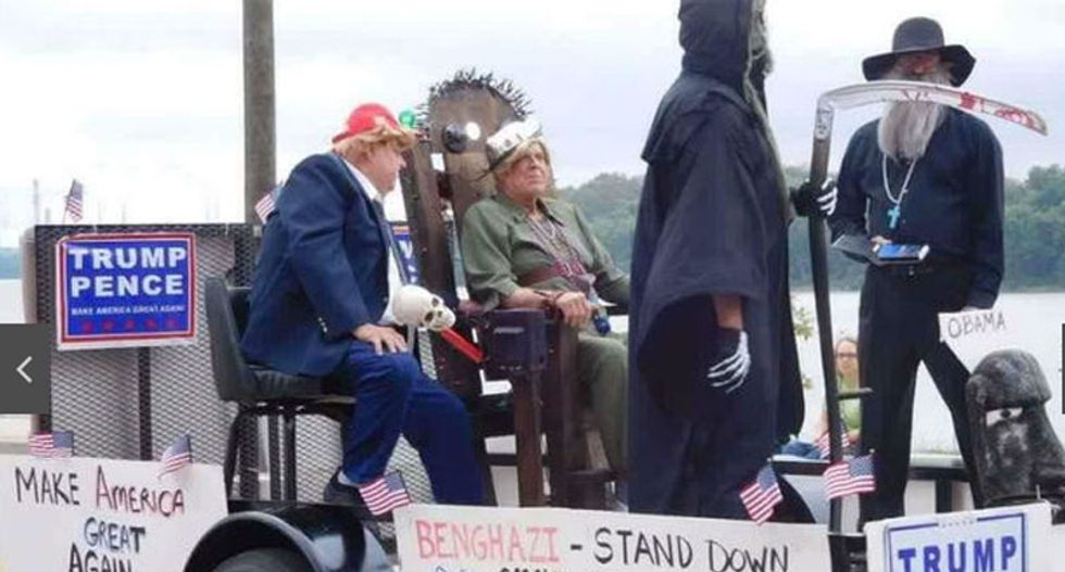 Indiana town in uproar after parade float depicts Trump executing Hillary Clinton in electric chair