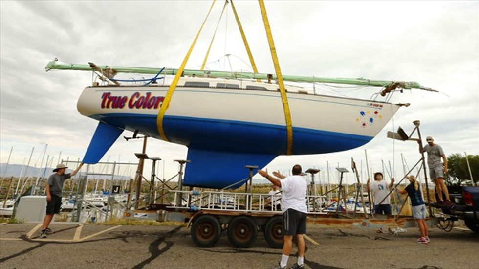 Deepening drought forces boats to be pulled from Utah's Great Salt Lake with cranes