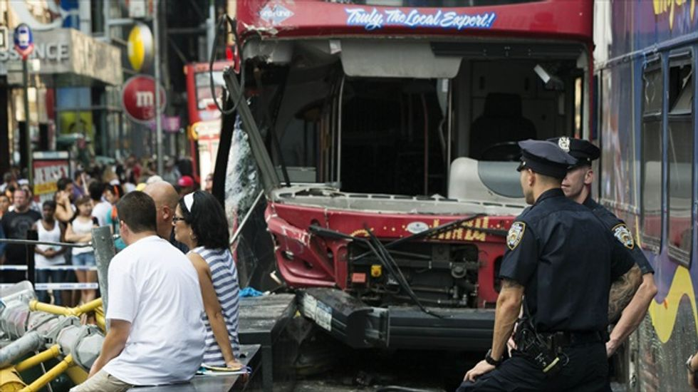 Open-top tour bus crash in NYC's Times Square leaves 14 injured