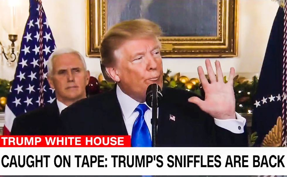 WATCH: CNN puts together a hilarious supercut of Trump sniffling and slurring through speeches