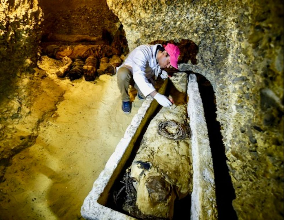 Thousands-year-old Egyptian sarcophagus opened on live TV