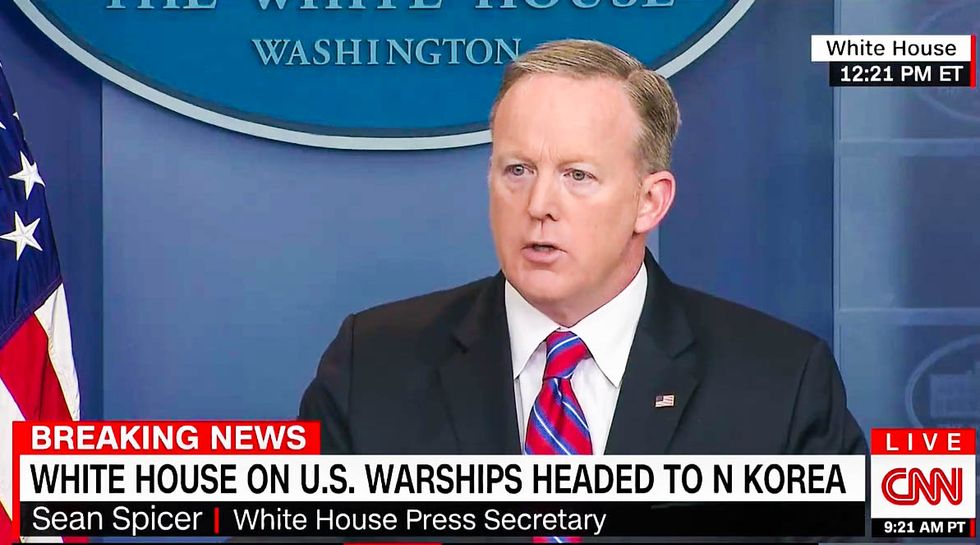 WATCH: Sean Spicer implodes when White House reporters grill him about aircraft carrier blunder