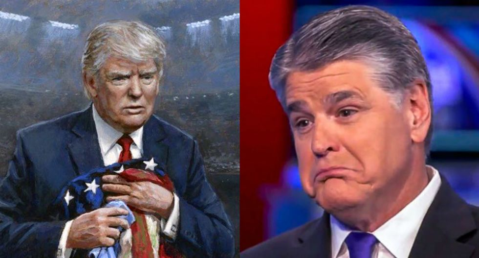 Hannity tried to troll liberals by having them critique 'provocative' Trump 'art' — and was immediately ripped to shreds