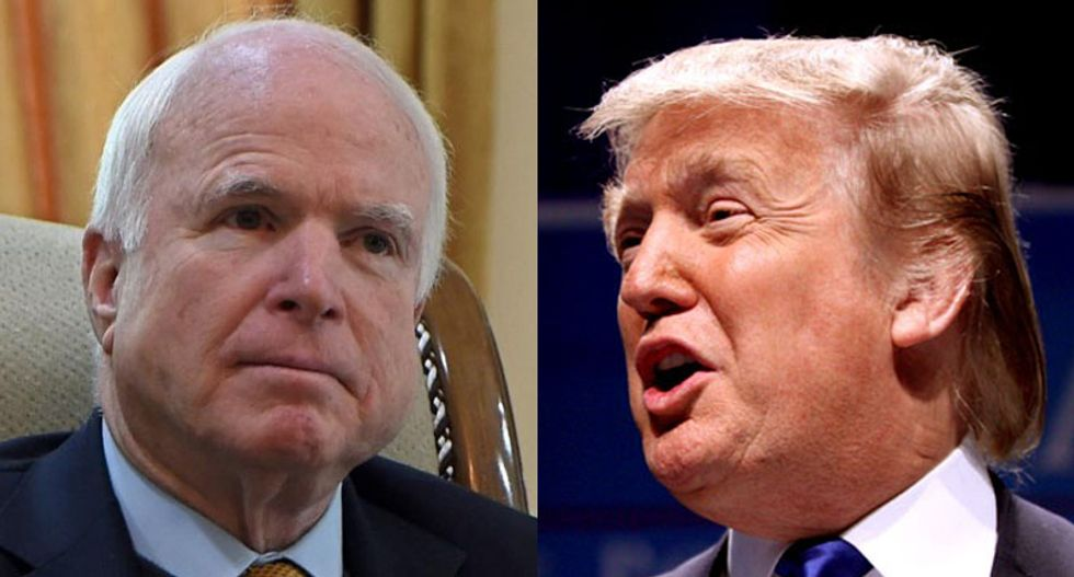 Watch Donald Trump continue war of words with John McCain: 'He's only a war hero because he was captured'