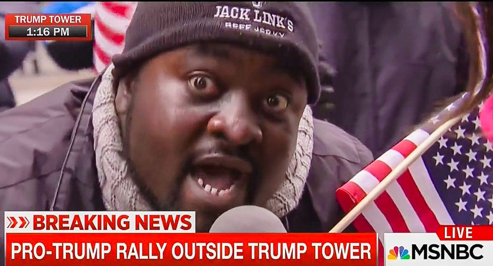 Pro-Trump protester rants to MSNBC: 'He's not racist... I don't hold him to his words'