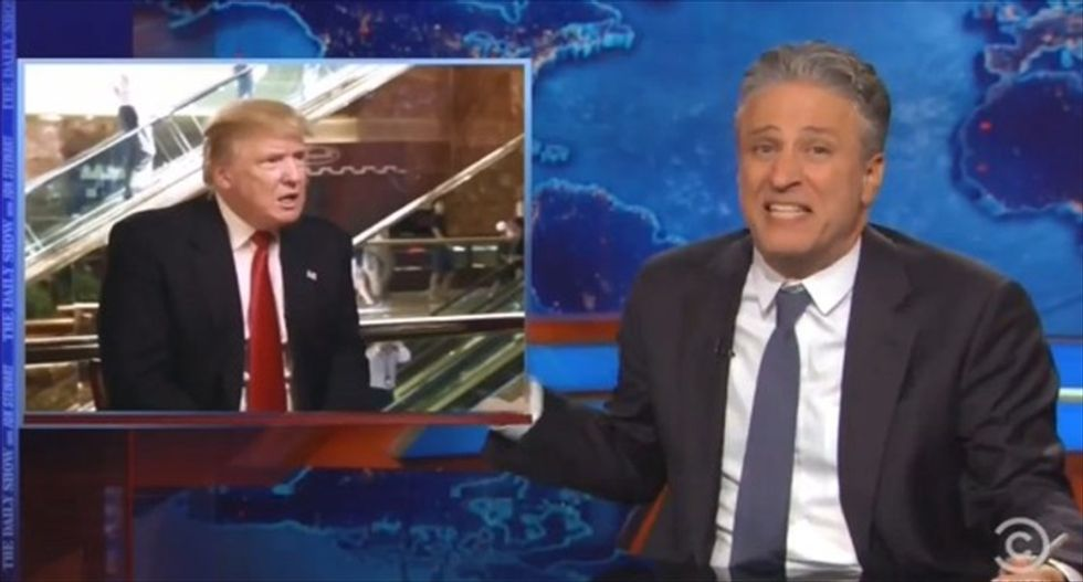 Jon Stewart: Sometimes you just have to say WTF and ride the Trump bl*wjob-a-coaster