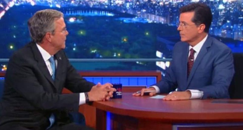'It connotes excitement': Jeb Bush awkwardly explains campaign logo to Stephen Colbert