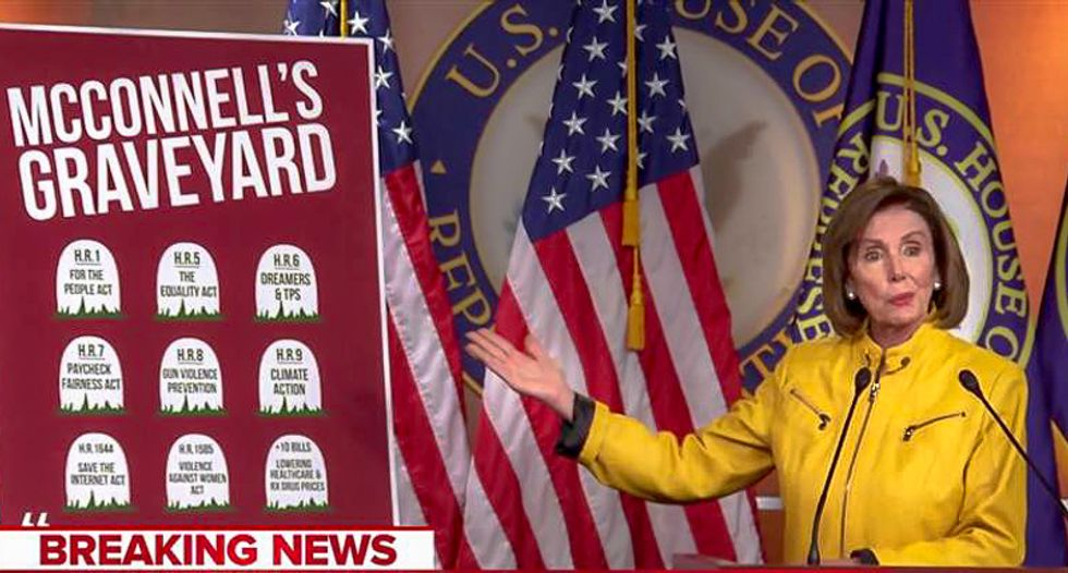 'McConnell's Graveyard': Nancy Pelosi trolls Mitch McConnell and his 'Grim Reaper' political campaign