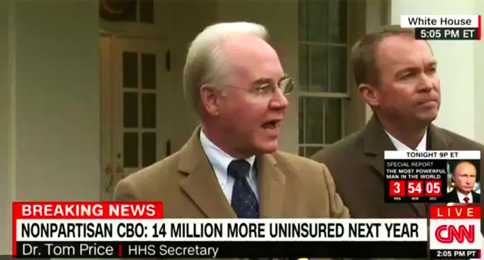 HHS head Tom Price calls scathing CBO health care report 'not believable' while admitting he hasn't read it