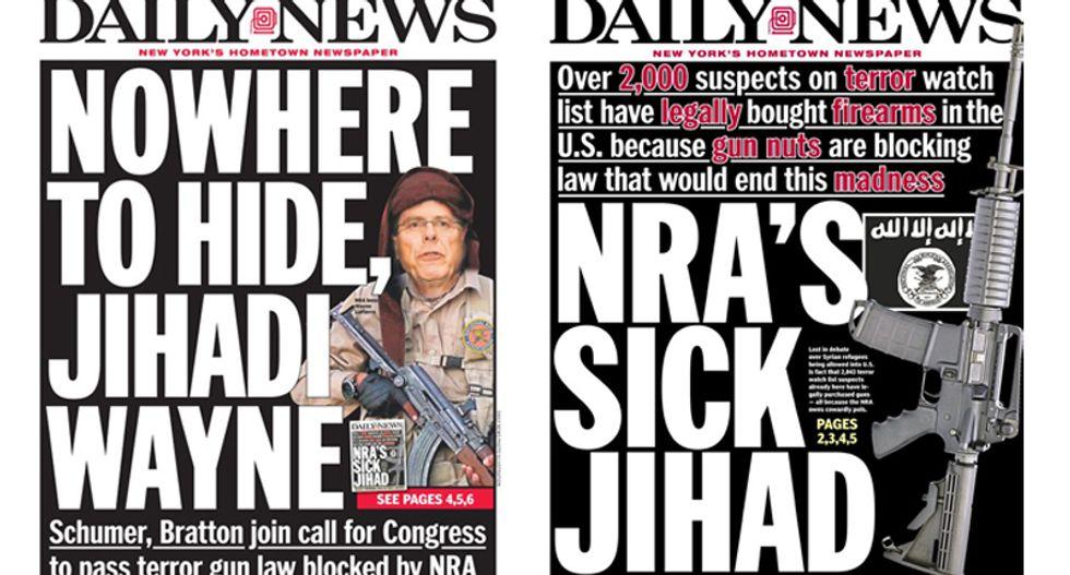 'Nowhere to hide, Jihadi Wayne': NY Daily News declares war on the NRA for blocking terrorist gun law