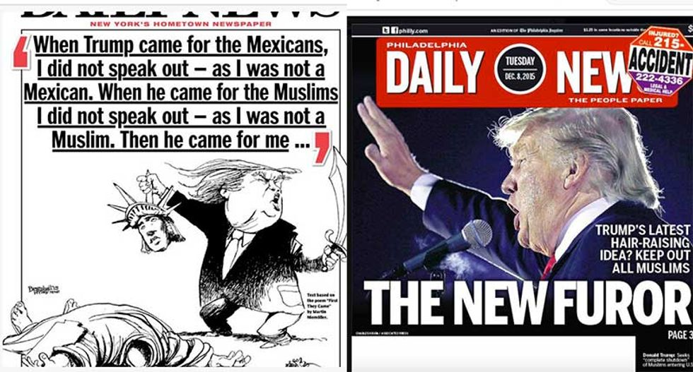 NY Daily News and Philly Daily News turn Trump into ISIS and Hitler in latest covers