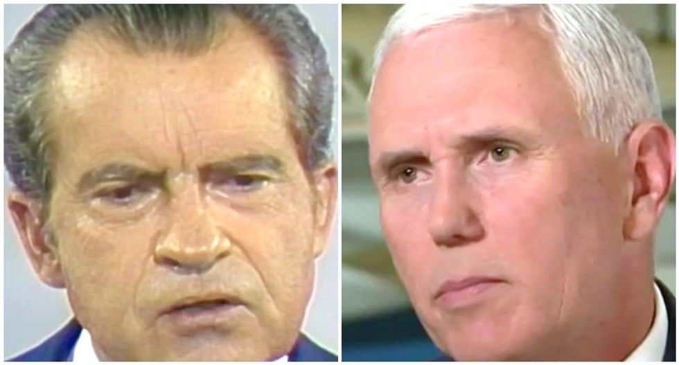 WATCH: Morning Joe nails stunning similarities between Mike Pence and Nixon calling for end to investigations