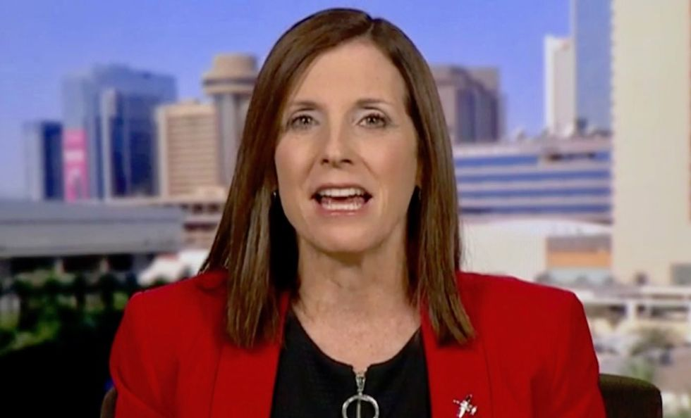 'Desperate' Martha McSally blasted for shilling T-shirts in a 'tone deaf' attempt to capitalize on her 'liberal hack' outburst
