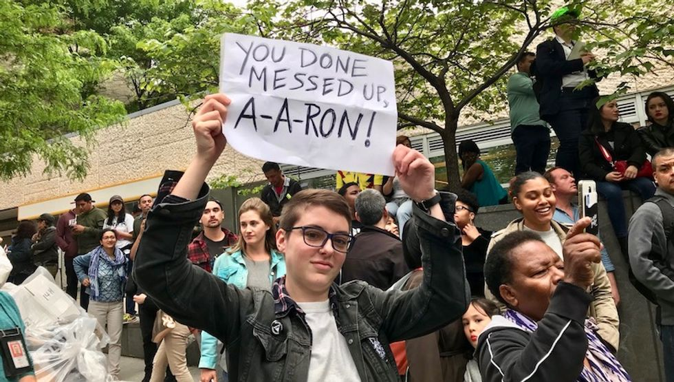 WATCH: New Yorkers taunt racist lawyer Schlossberg with awesome Latino party out front of his home