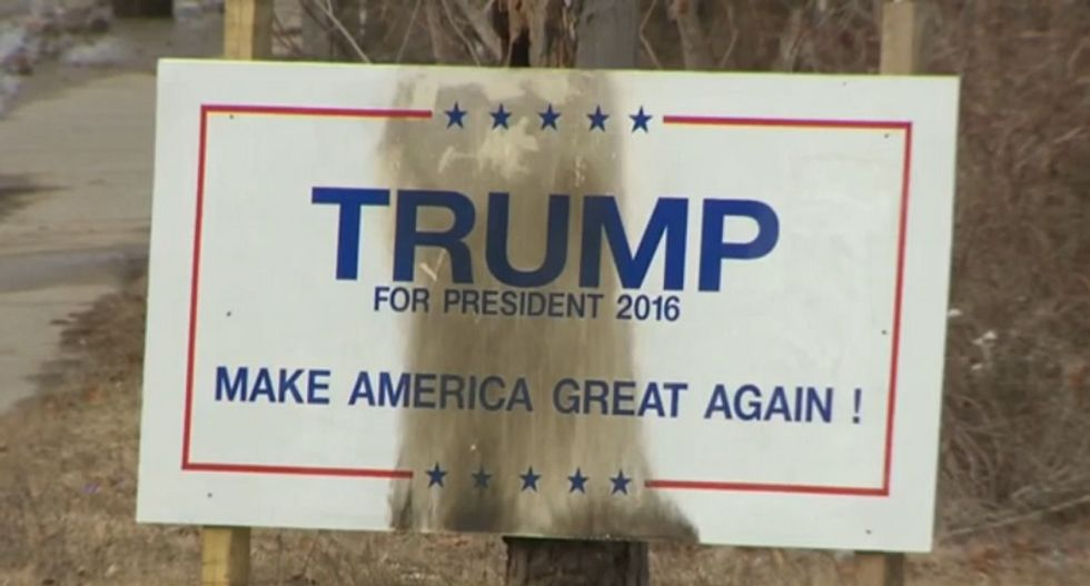 'Indestructible' Trump sign torched in Massachusetts two weeks after campaign headquarters vandalized